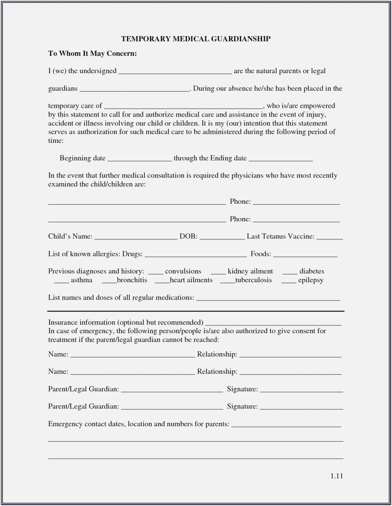Free Printable Temporary Child Guardianship Forms