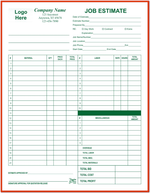 Free Sample Job Estimate Forms