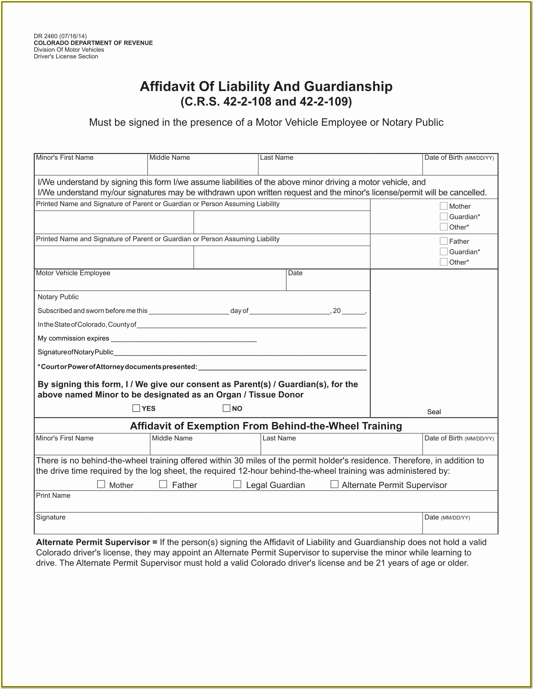 Guardianship Forms For Parents