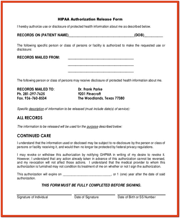 Hipaa Authorization Form Pa