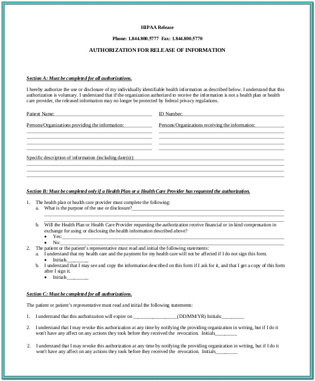 Hipaa Authorization Form Template