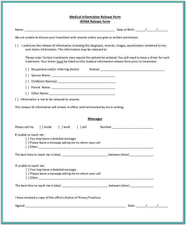 Hipaa Medical Release Form Template