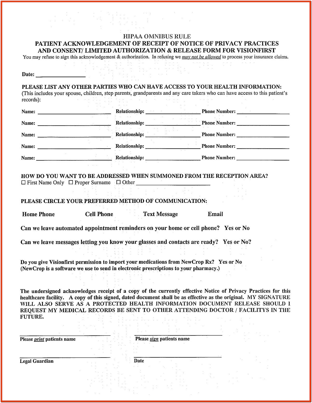 Hipaa Patient Form