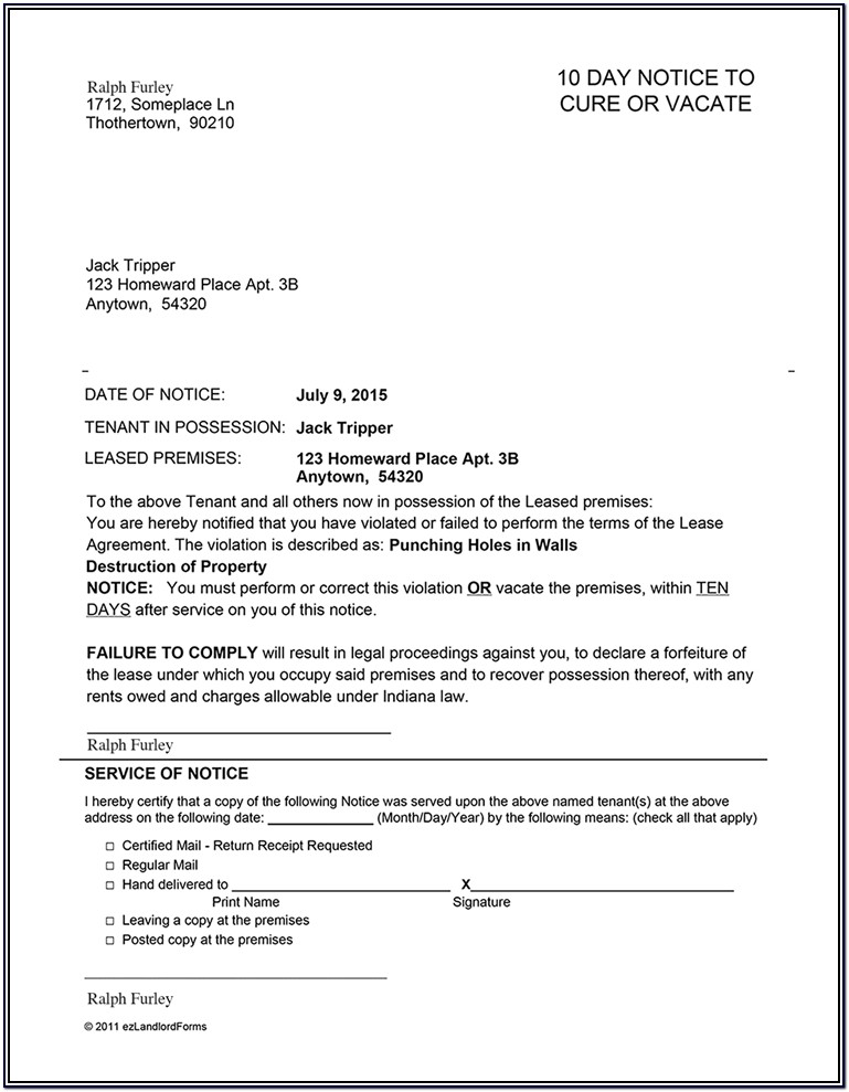 Indiana Landlord Notice To Vacate Form