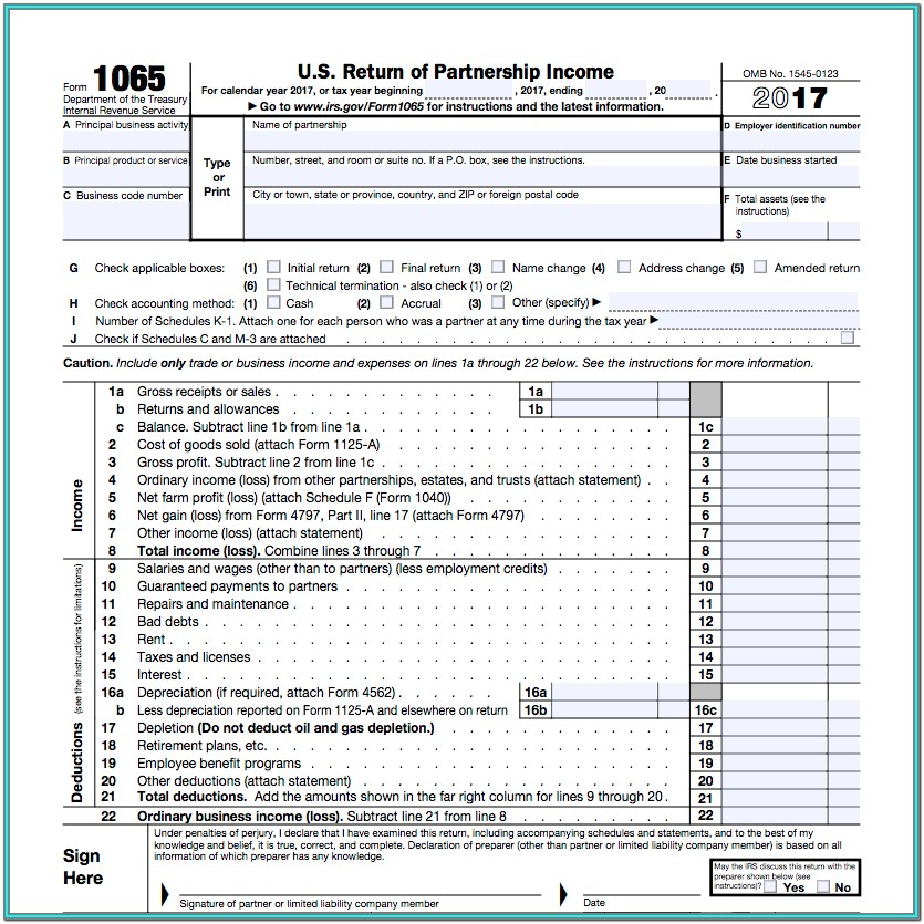 Irs Form 1065 For 2018
