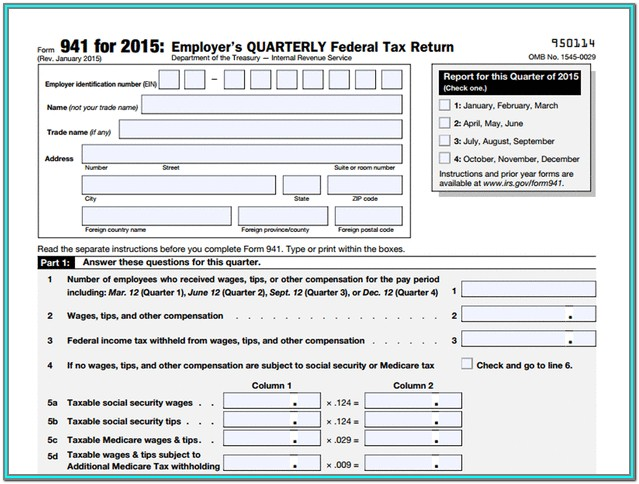 Irs.gov Forms 941 Instructions