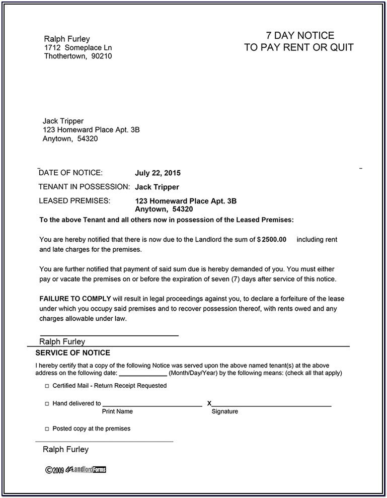 Kentucky Landlord Notice To Vacate Form