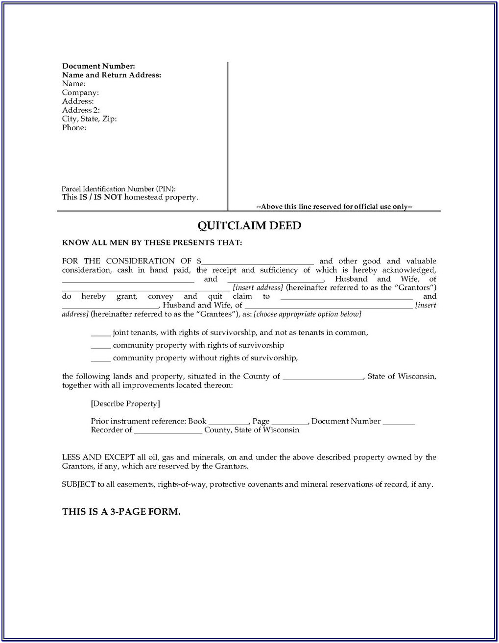 King County Washington Quit Claim Deed Form