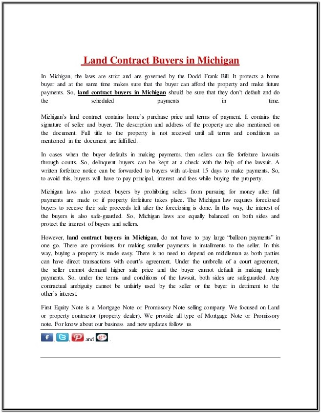 Land Contract Document Michigan