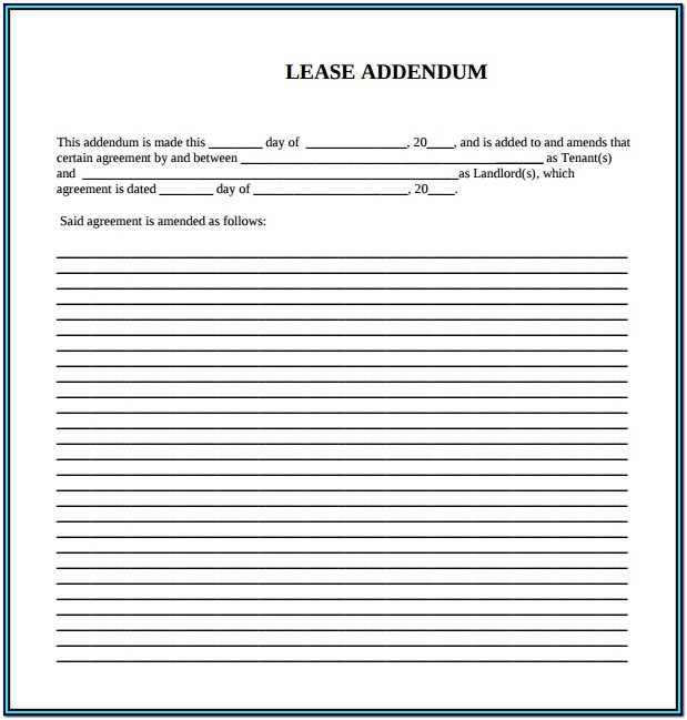 Lease Agreement Addendum Form