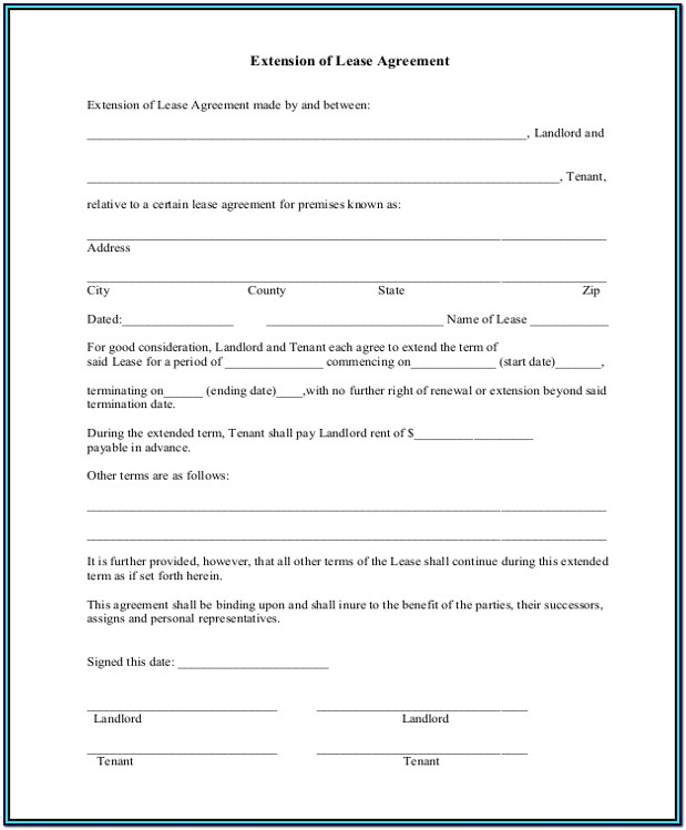 Lease Extension Addendum Form
