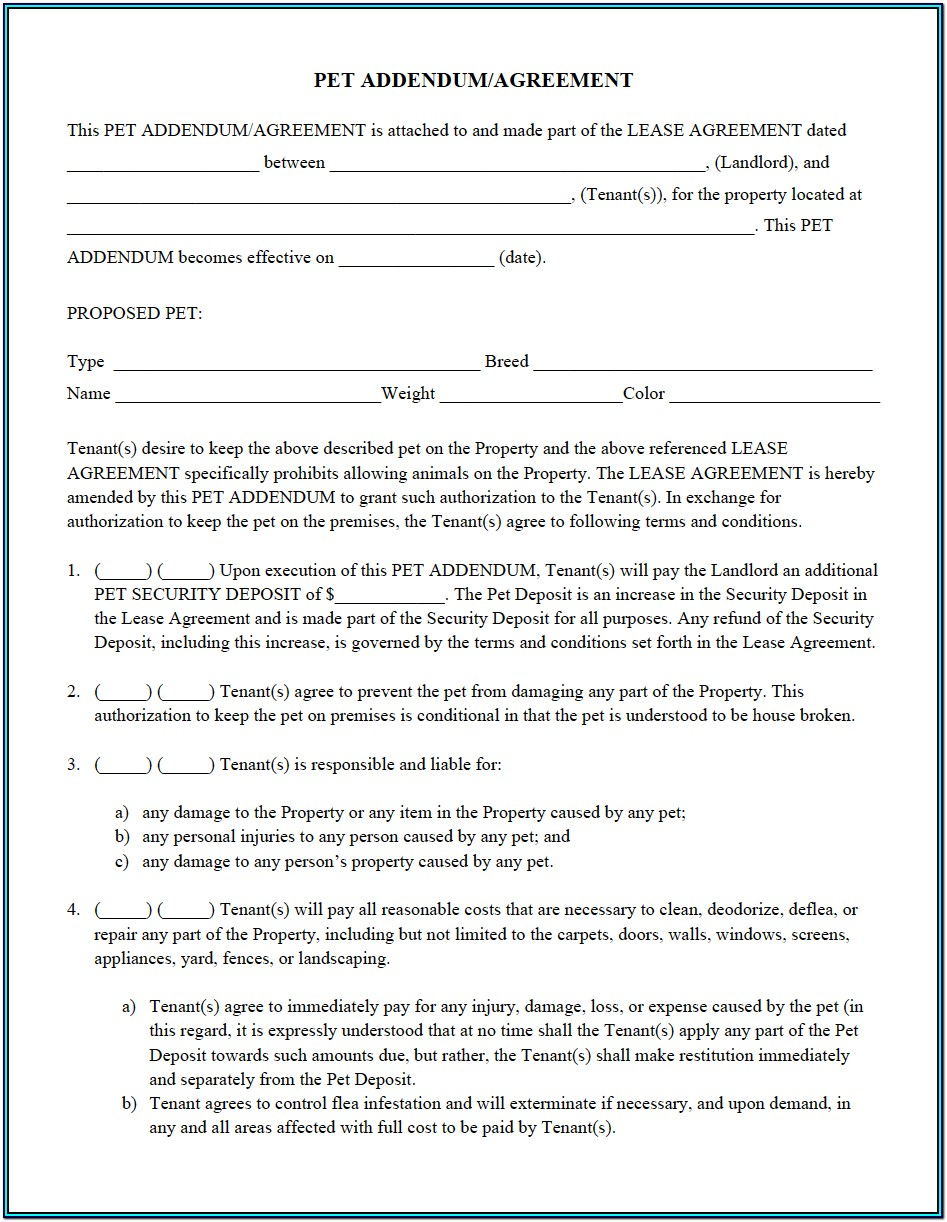 Lease Pet Addendum Form