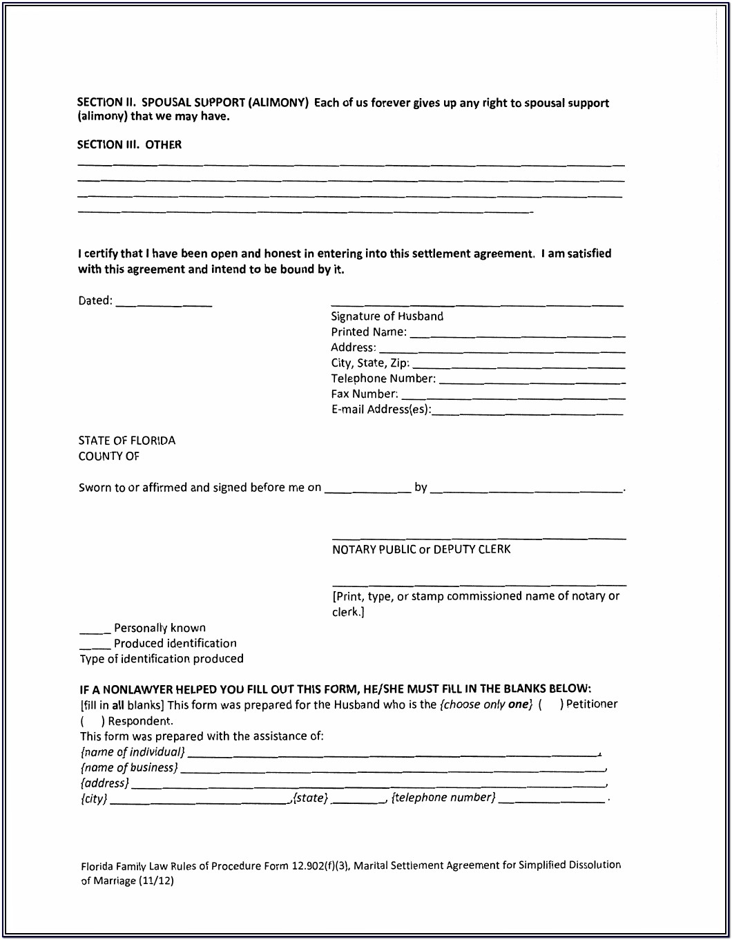 Marital Separation Agreement Form Missouri