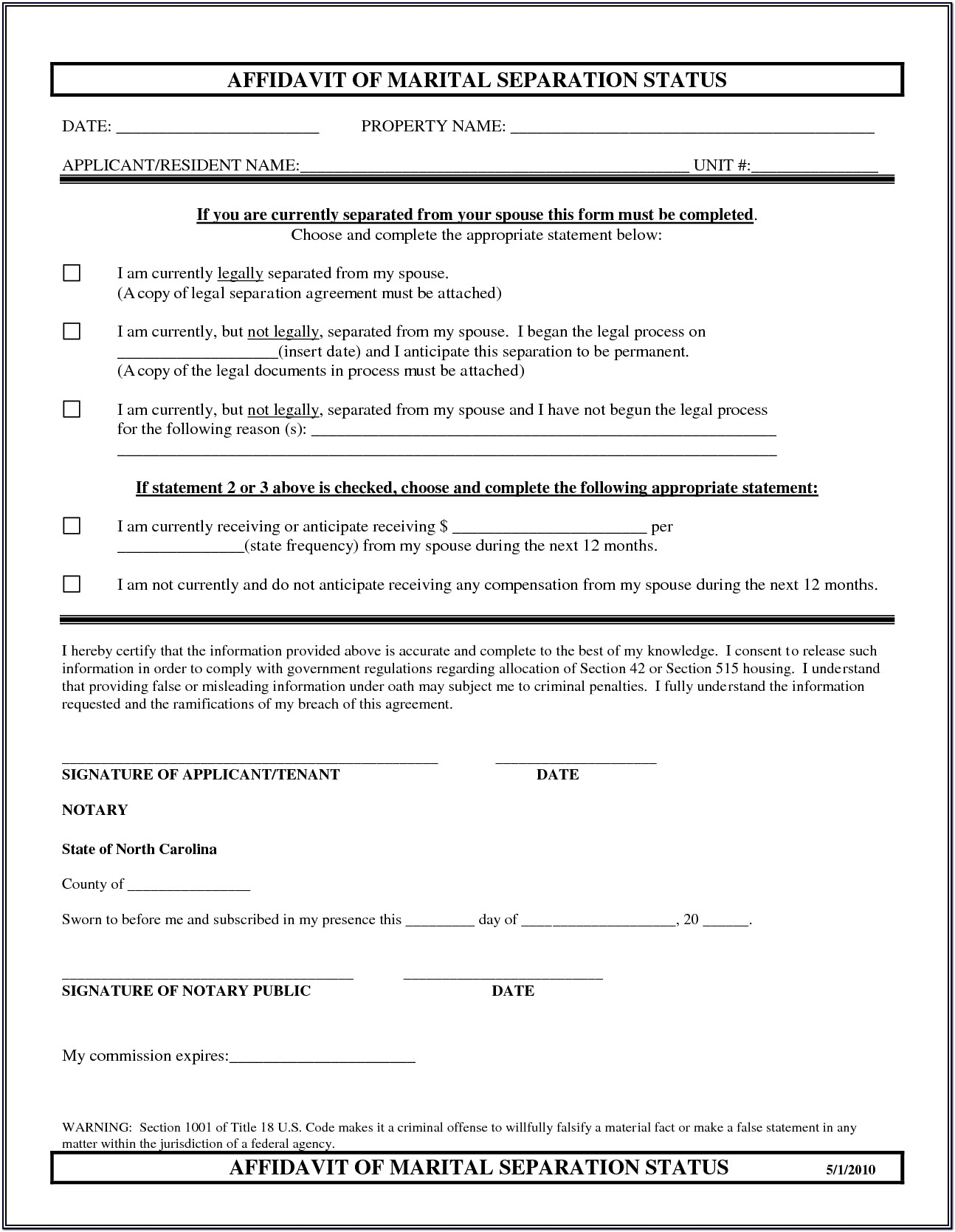 Marital Separation Agreement Form Nc