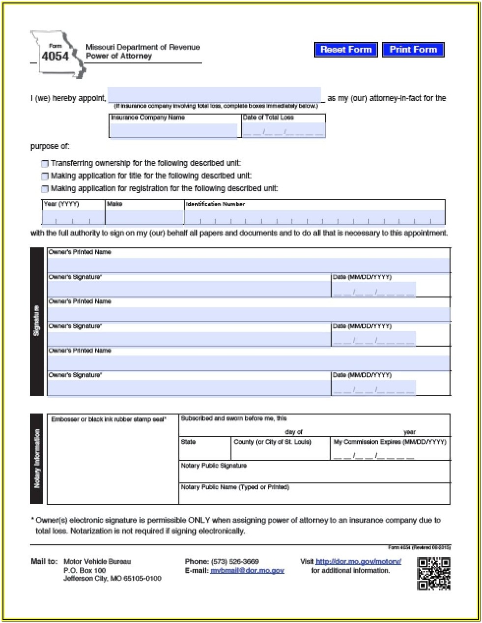 Missouri Power Of Attorney Form 5086