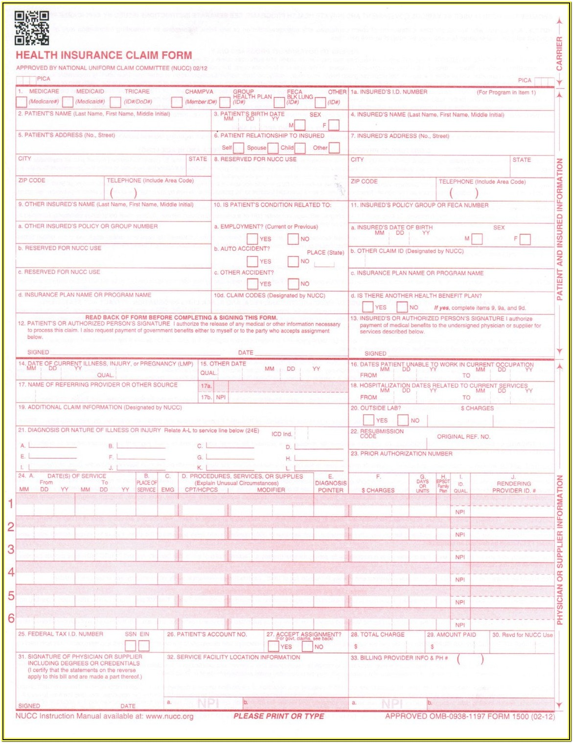 New Cms 1500 Claim Form Pdf