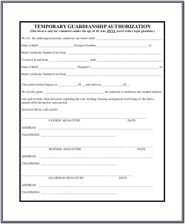 Pdf Printable Temporary Guardianship Form