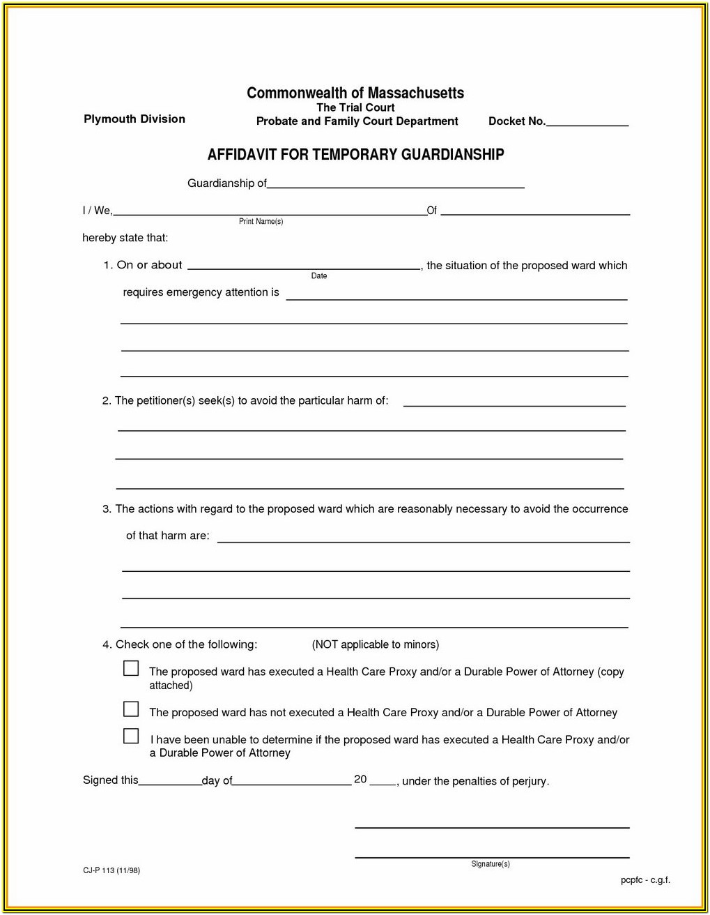 Permanent Guardianship Forms Georgia