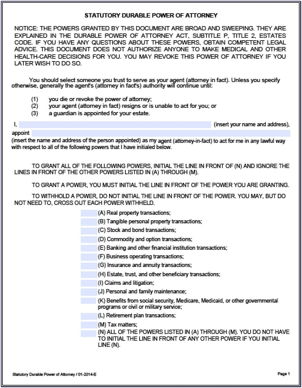 Power Of Attorney Form Texas Real Estate