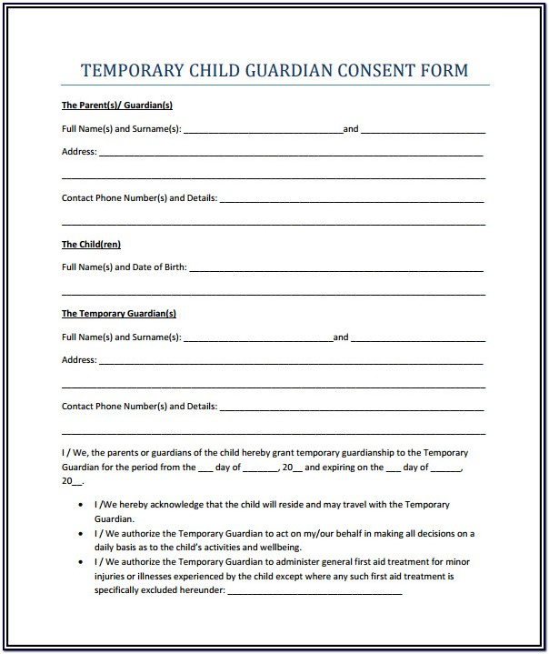 Print Temporary Guardianship Form