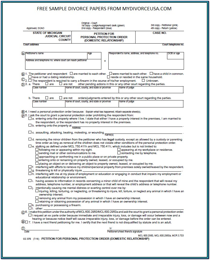 Printable Divorce Forms Michigan