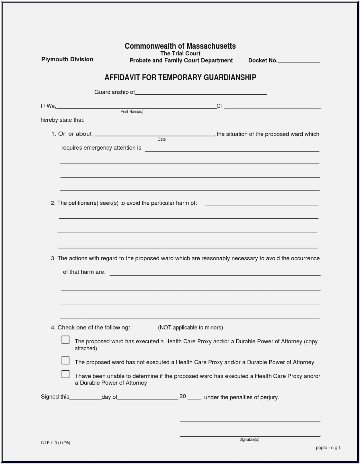 Printable Temporary Guardianship Agreement Form