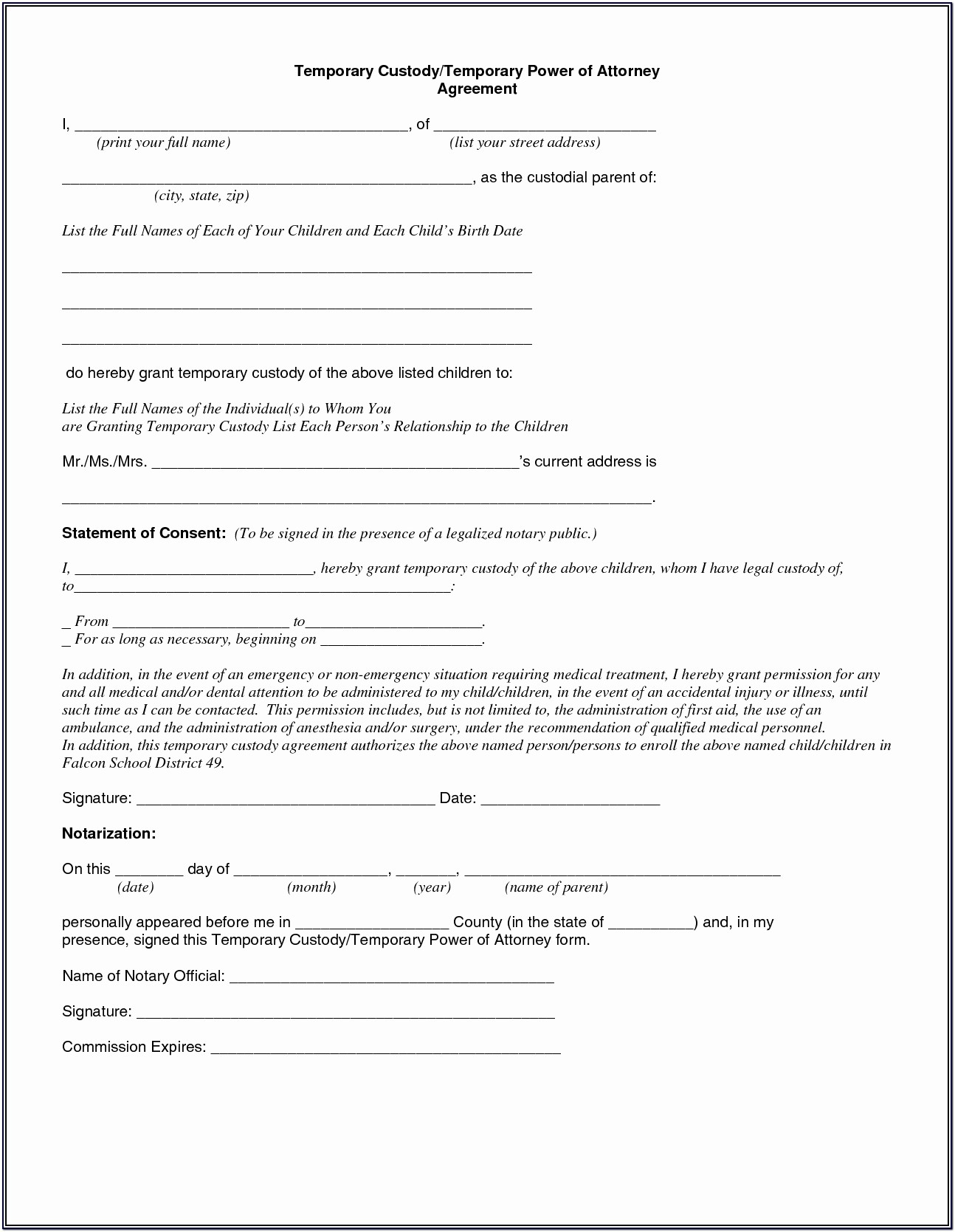 Printable Temporary Guardianship Form Download
