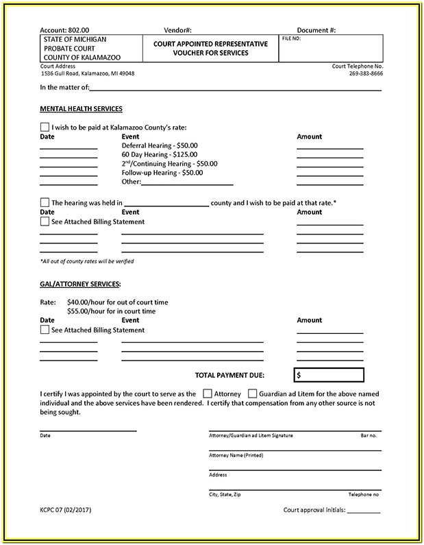 Probate Inventory Form Michigan