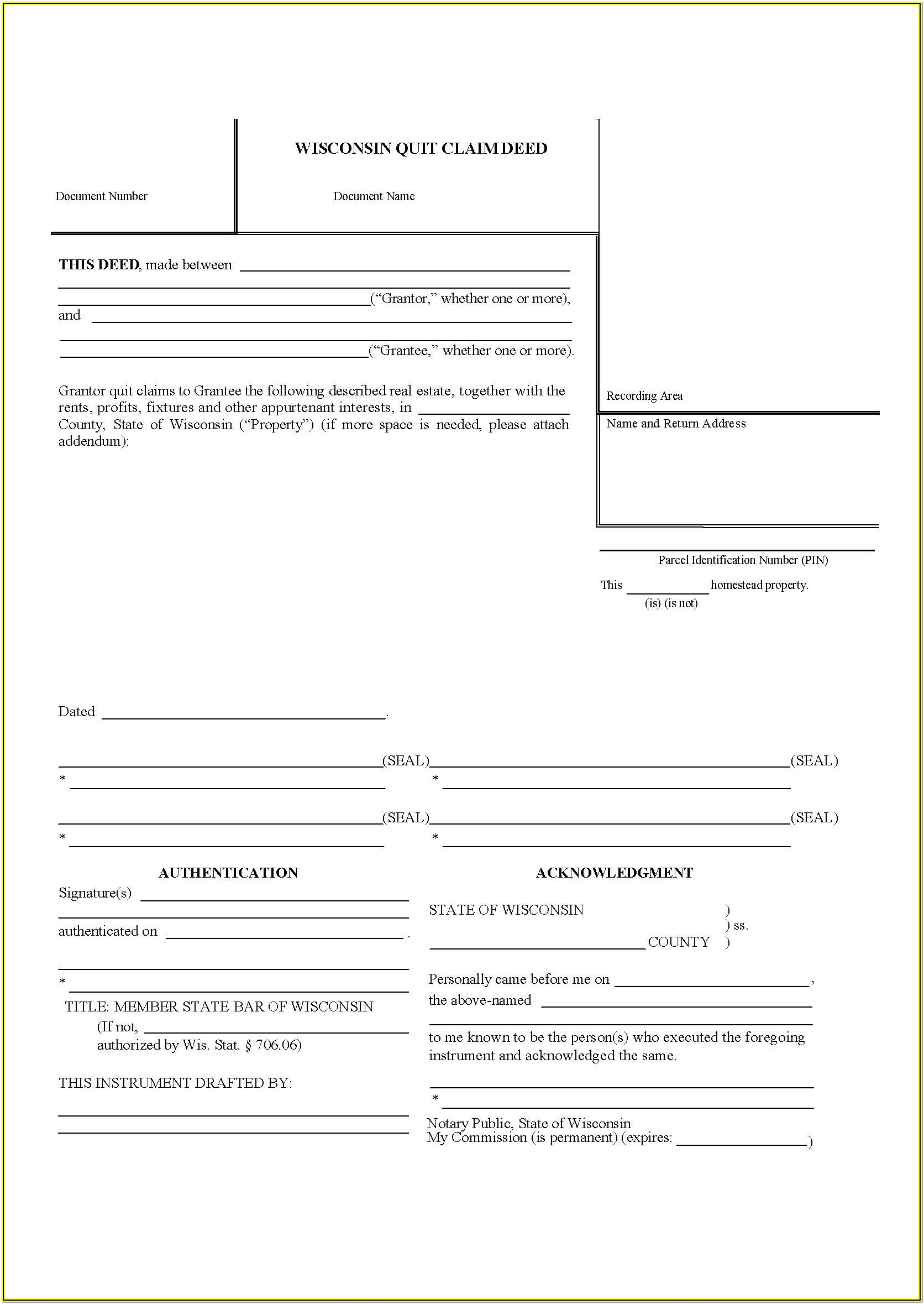 Quit Claim Deed Fillable Form Wisconsin