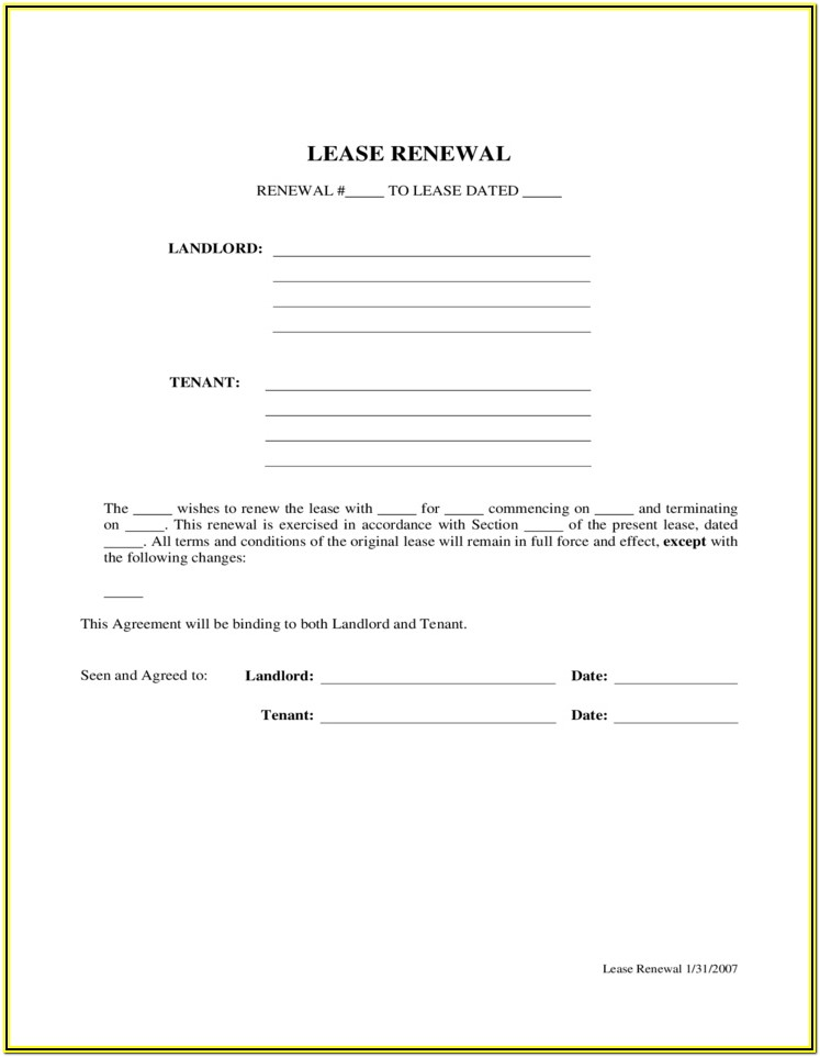 Residential Lease Renewal Form California