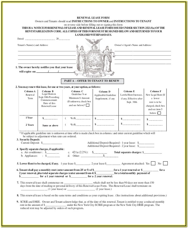 Residential Lease Renewal Form Texas