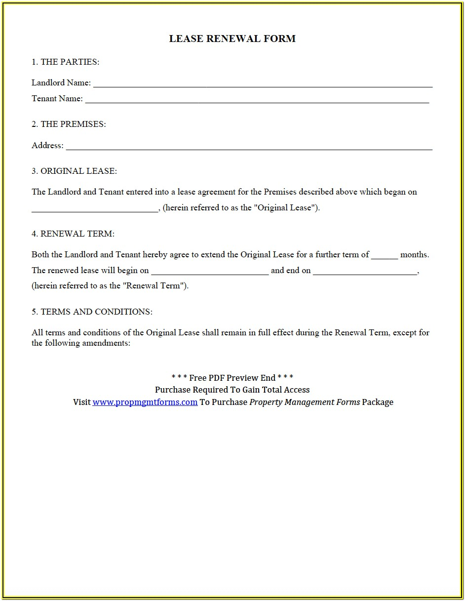 Residential Lease Renewal Template