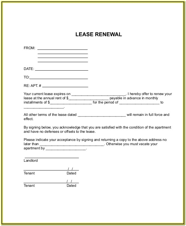 Residential Rental Renewal Form