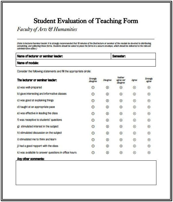Sample Esl Teacher Evaluation Form