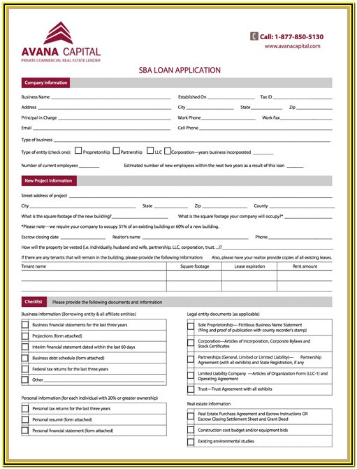 Sba 504 Loan Application Form