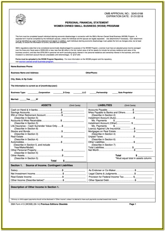 Sba Loan Application Form 413