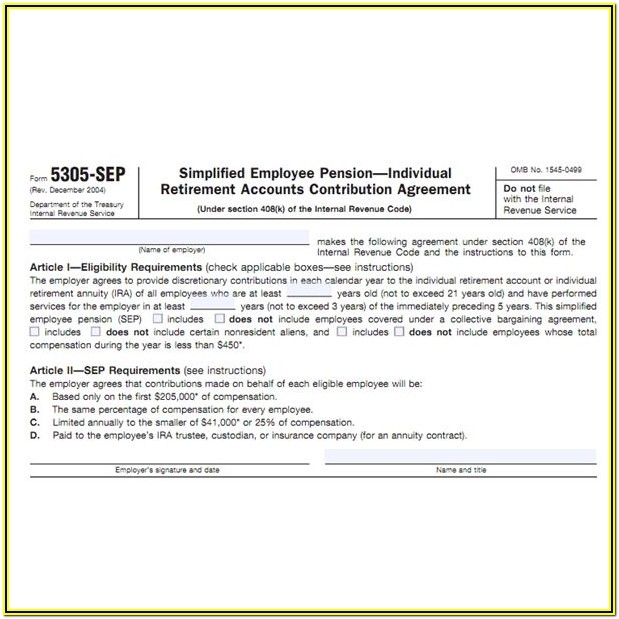 Sep Ira Contribution Form