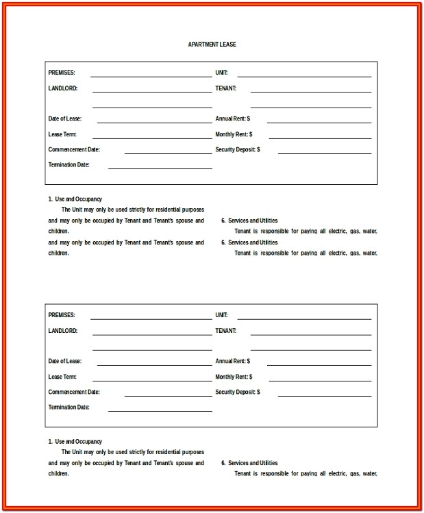 Simple Apartment Lease Agreement Form