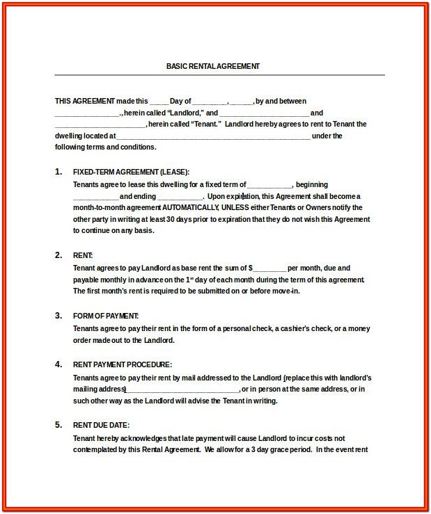 Simple Apartment Lease Form