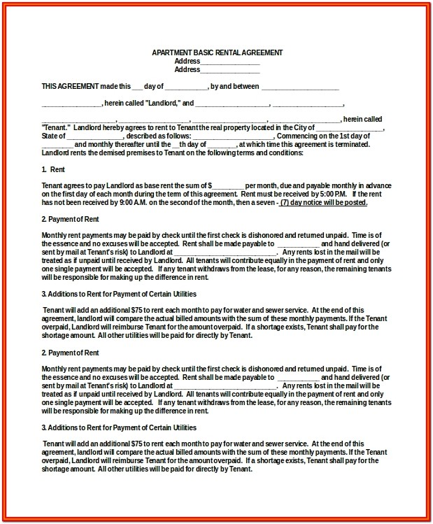 Simple Apartment Rental Agreement Form