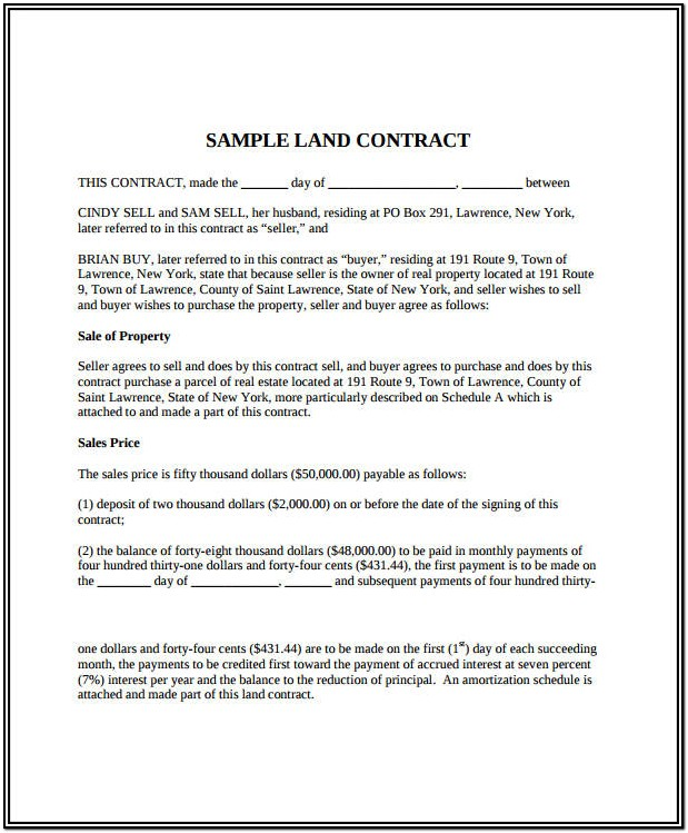 Simple Land Contract Form Free