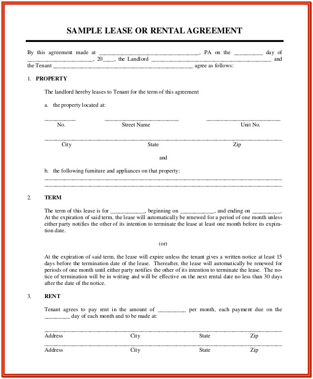 Simple Residential Lease Agreement Form