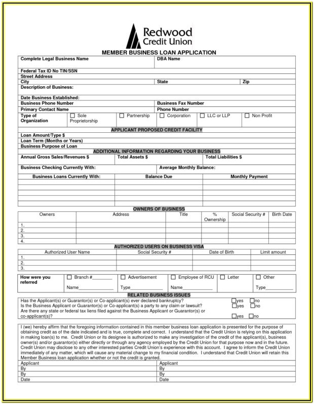 Small Business Loan Application Form Pdf
