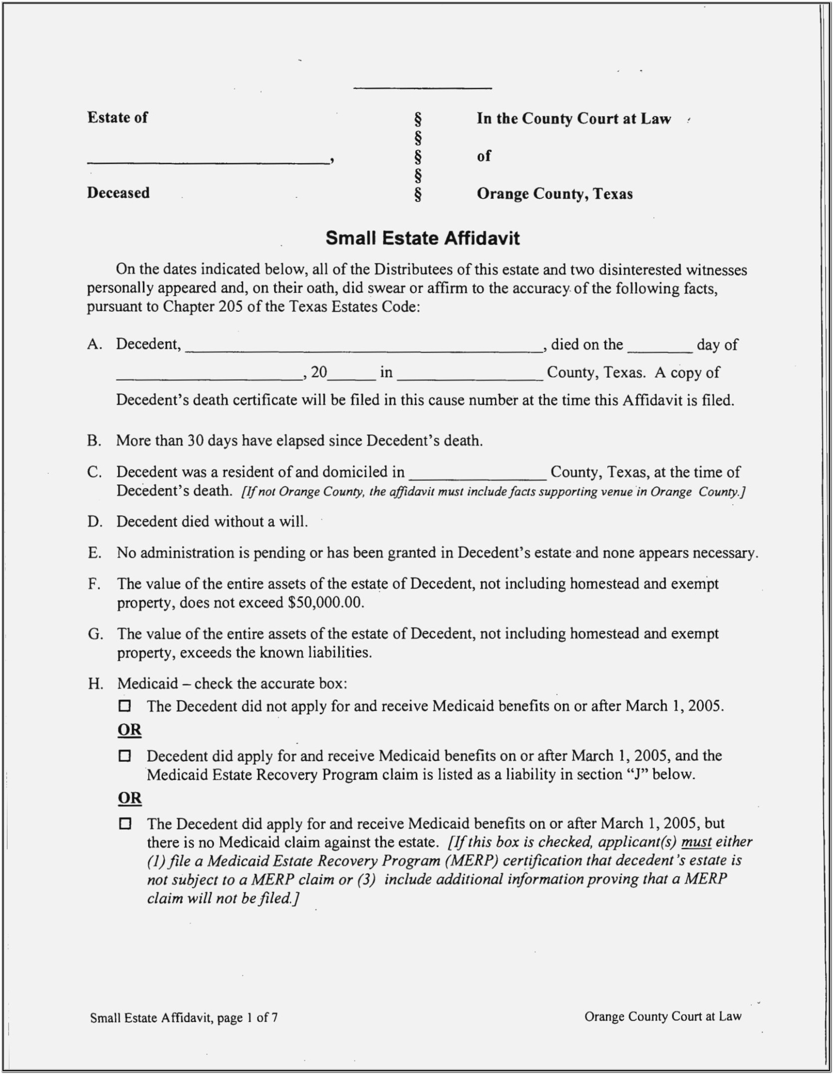 Small Claims Court Affidavit Form