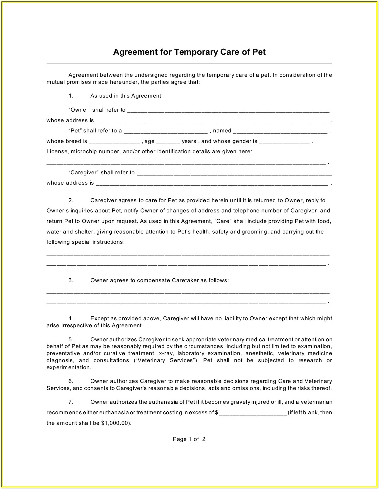Temporary Guardianship Forms Florida