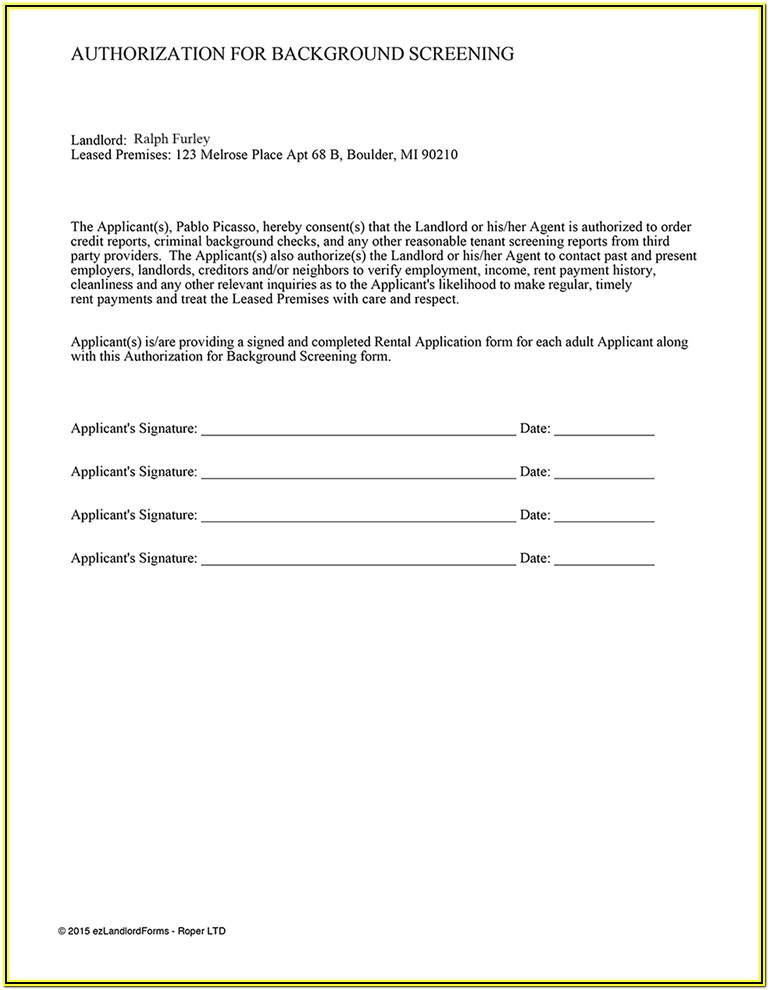 Tenant Background Check Consent Form