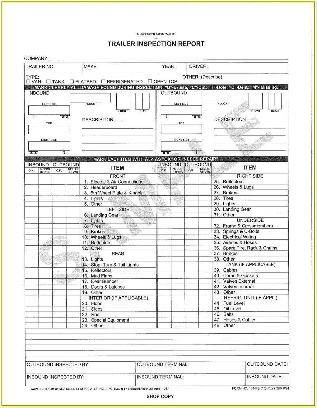 Termite Inspection Form Pdf