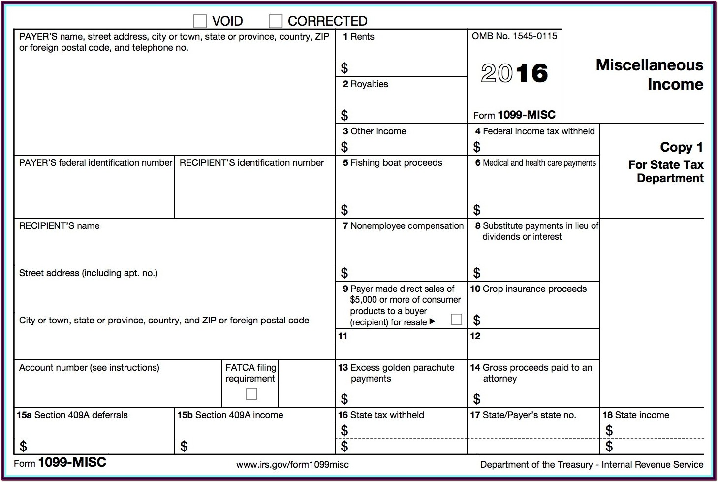 1099 Tax Form Example