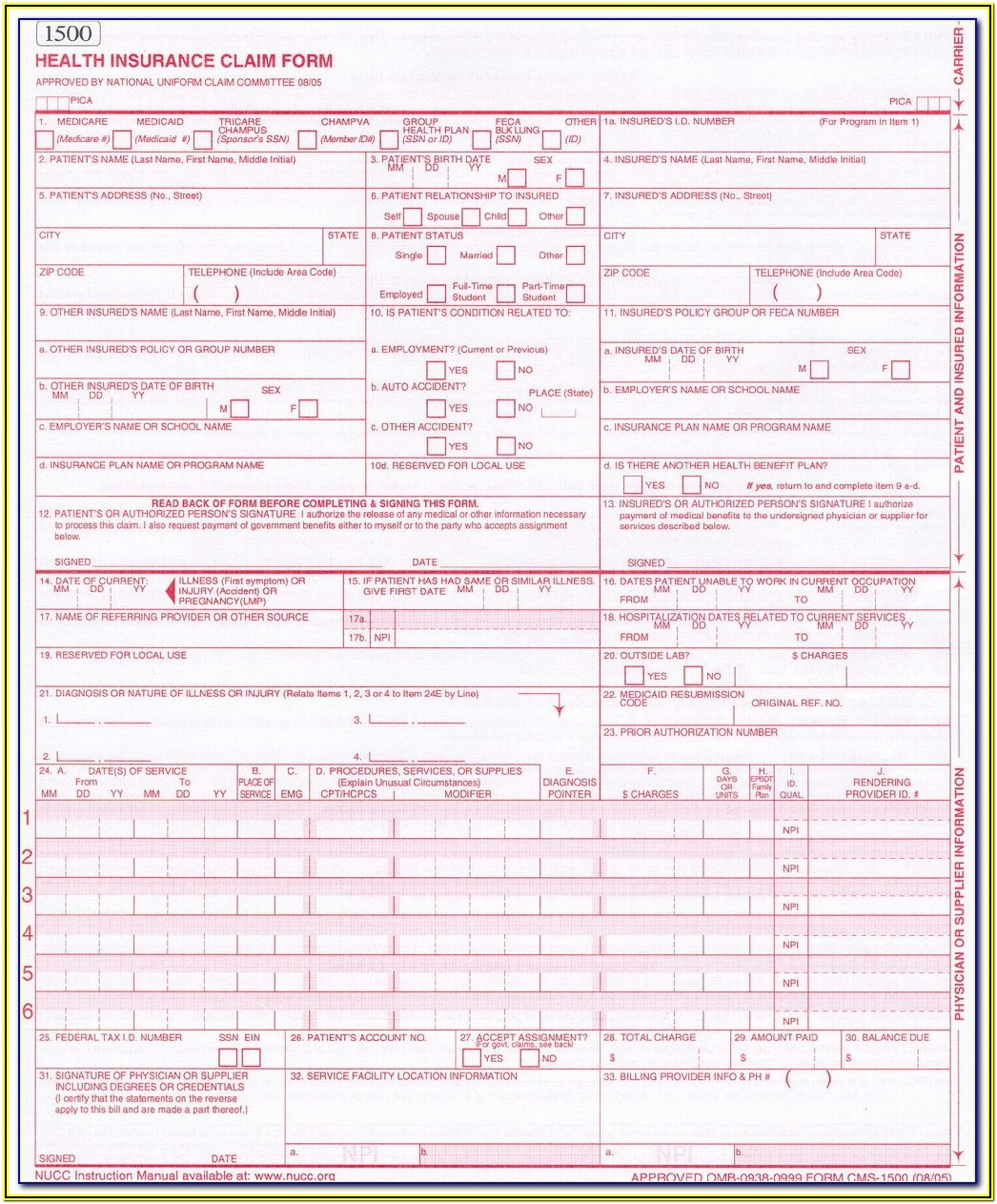 1500 Claim Form Fillable Pdf