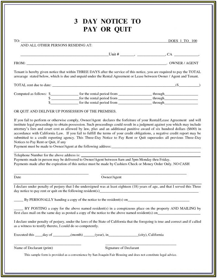 3 Day Pay Or Quit Form California Pdf